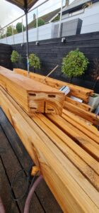 Preparation for pergola horizontal structure joint with dowels