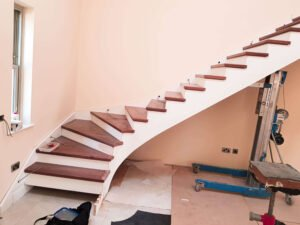 Genie lift use for stairs installation